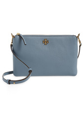 Tory Burch Kira Pebbled Leather Wallet Crossbody Bag in New Cream at Nordstrom
