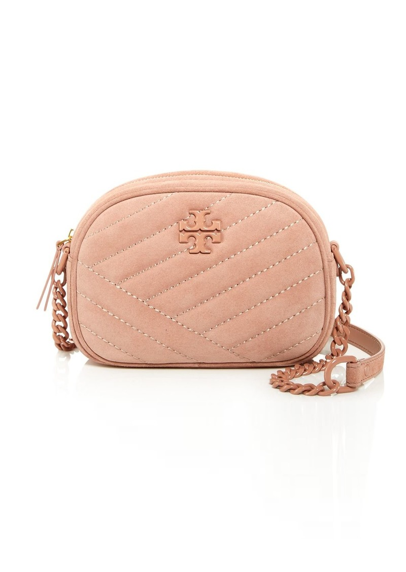 Tory Burch Kira Small Quilted Suede Camera Crossbody