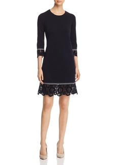 Tory Burch Lace-Trim Merino-Wool Sweater Dress