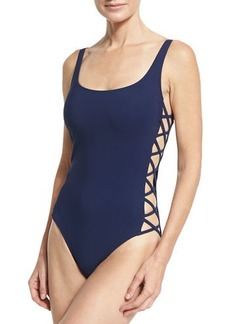 Tory Burch Lace-Up Side One-Piece Swimsuit