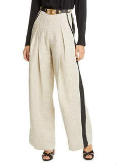 Tory Burch Leather Trim Linen Pants