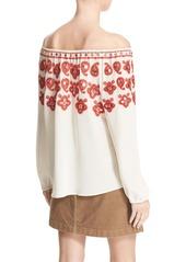 Tory Burch 'Leyla' Embellished Off the Shoulder Silk Top