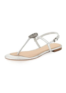Tory Burch Liana Metallic Leather Flat Sandal