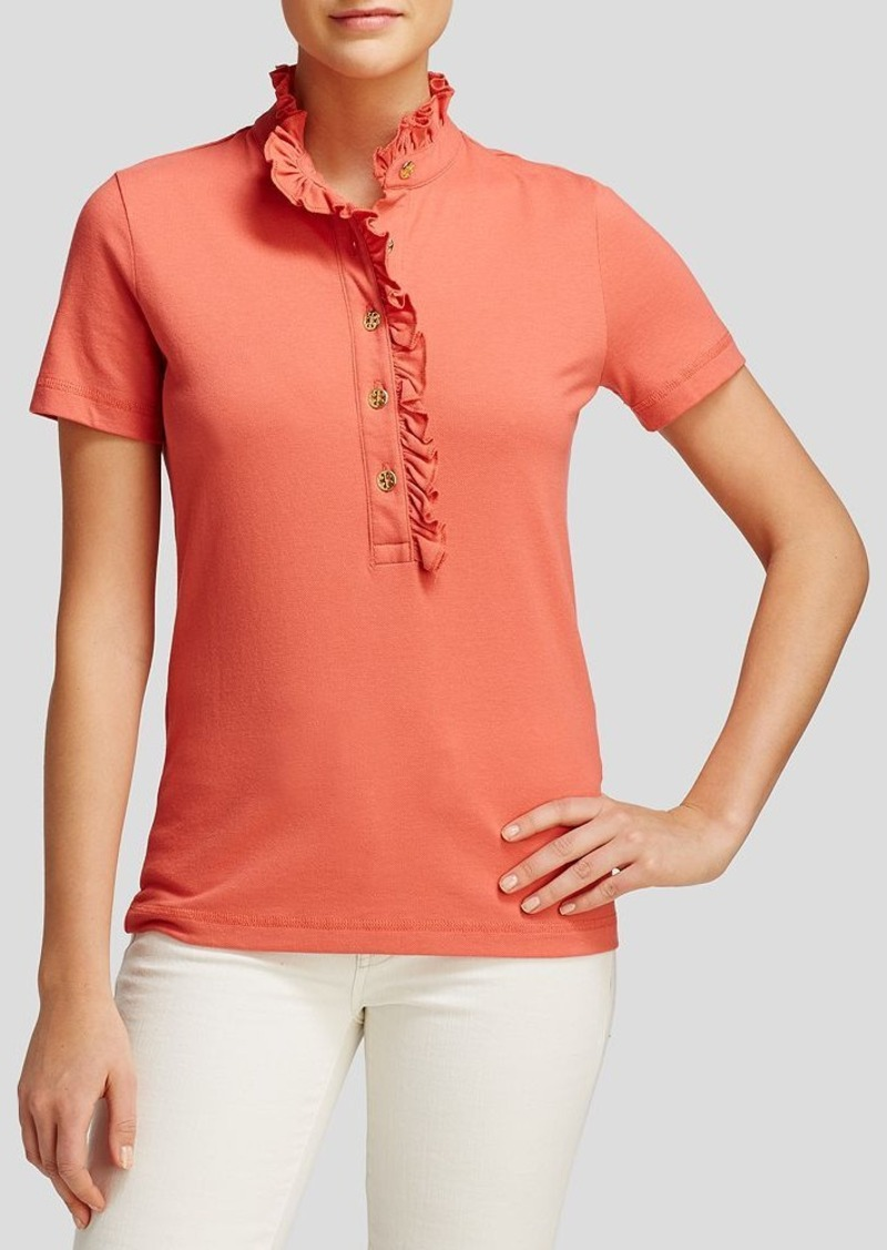 tory burch tory burch lidia ruffle trim polo shirt