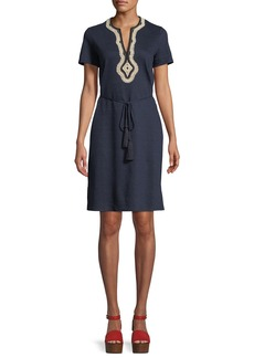 Tory Burch Liliana Embroidered-Trim Jersey Dress