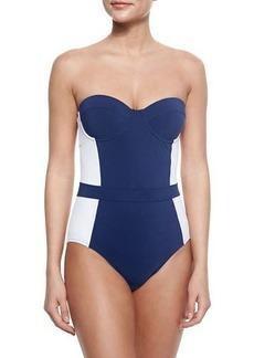 Tory Burch Lipsi Two-Tone One-Piece Swimsuit