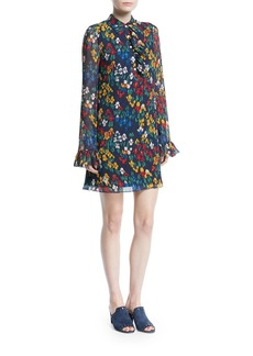 Tory Burch Livia Iris Garden Printed Long-Sleeve Dress