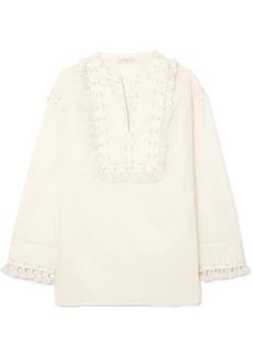 Tory Burch Lizzie Embellished Cotton-gauze Tunic
