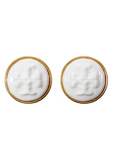 Tory Burch Logo Cameo Stud Earrings