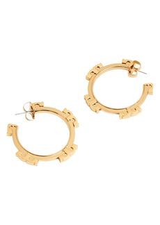Tory Burch Logo Hoop Earrings