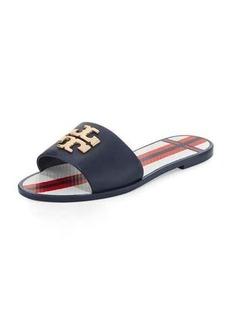 Tory Burch Logo Jelly Flat Slide Sandal