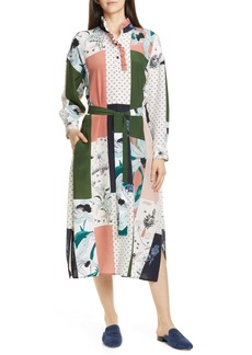 Tory Burch Long Sleeve Patchwork Silk Midi Dress