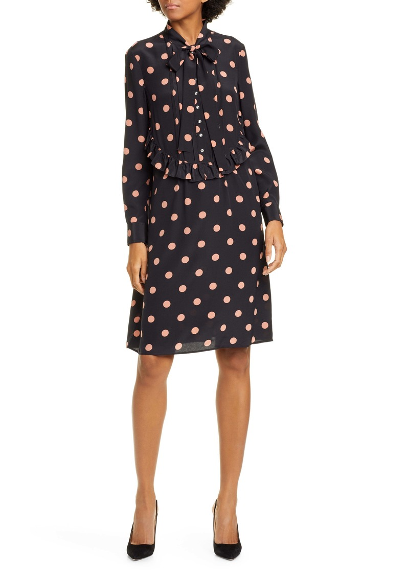 Tory Burch Long Sleeve Tie Neck Silk Dress