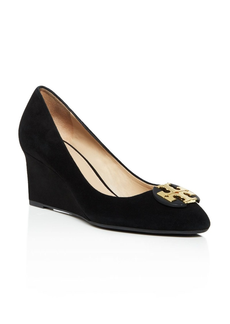 Tory Burch Luna Suede Mid Heel Wedge Pumps