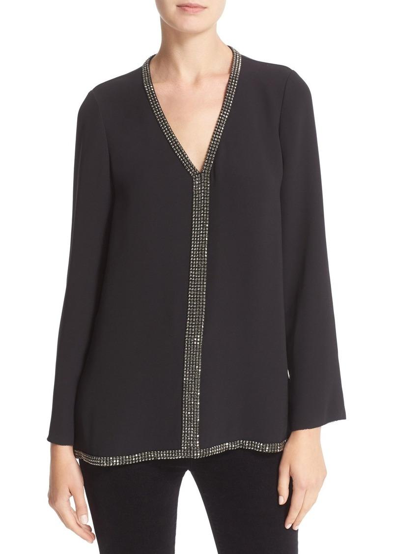 Tory Burch 'Mallet' Embellished V-Neck Silk Tunic