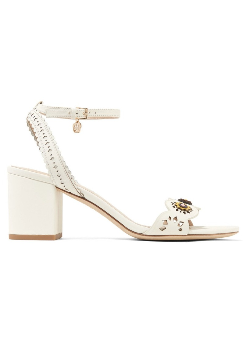 7fcdc9bb584 Tory Burch Tory Burch Marguerite embellished perforated leather ...