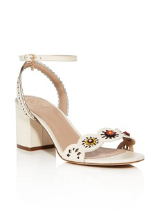 Tory Burch Marguerite Floral Cutout Mid Block Heel Sandals