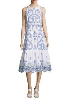Tory Burch Mariana Sleeveless Embroidered Cotton Midi Dress