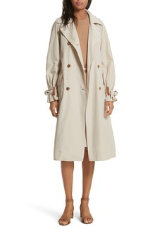 Tory Burch Marielle Leather Trim Trench Coat