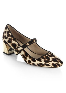 Tory Burch Marisa Leopard-Print Calf Hair Mary Jane Pumps