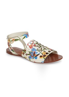 Tory Burch May Printed Floral Ankle Strap Sandal (Women)