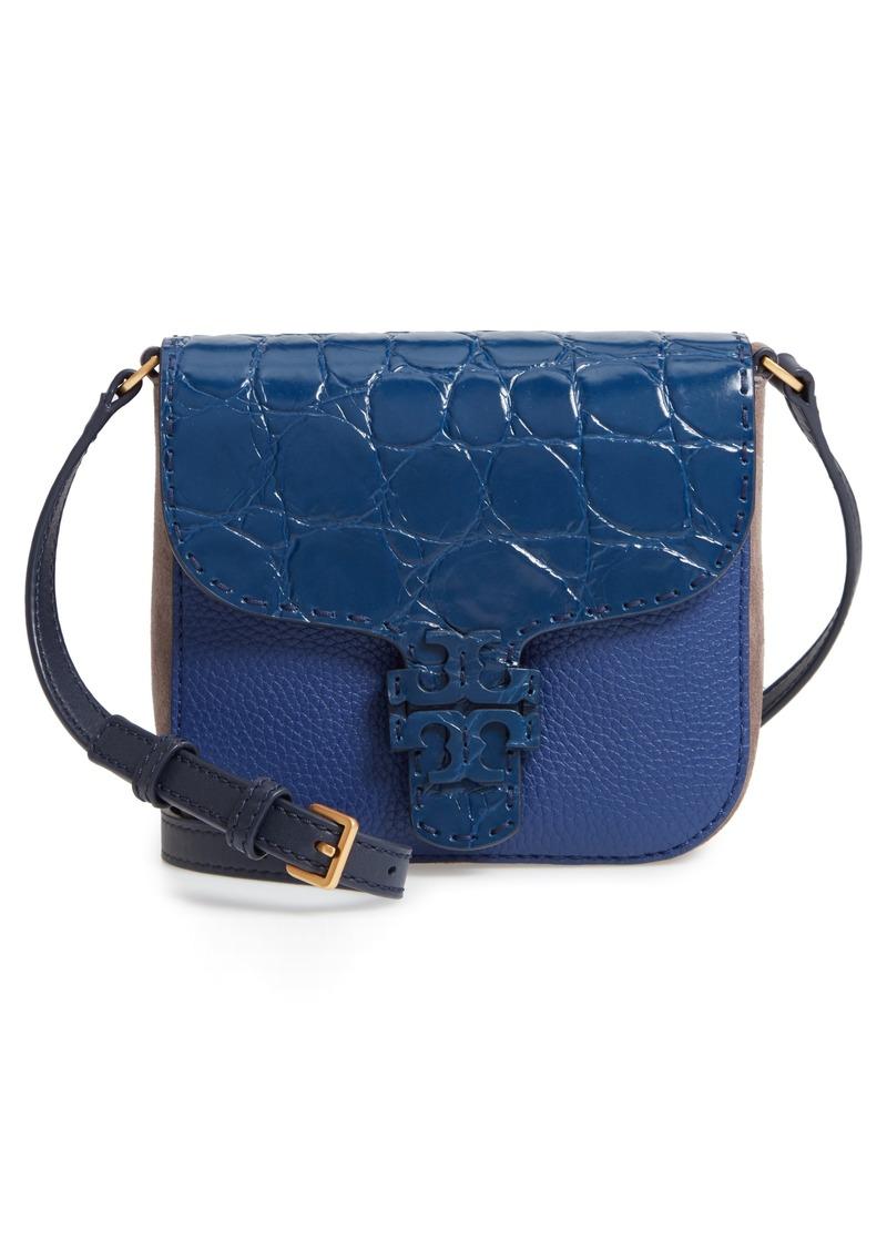 53406b84225c Tory Burch Tory Burch McGraw Croc Embossed Leather Crossbody Bag ...