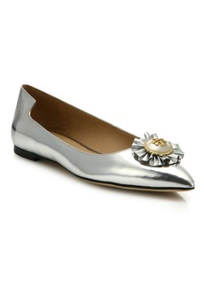 Tory Burch Melody Metallic Leather Point Toe Flats