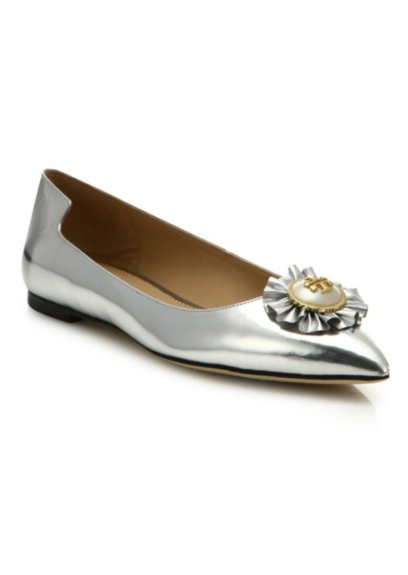 726aa19431d Tory Burch Tory Burch Melody Metallic Leather Point Toe Flats Now ...