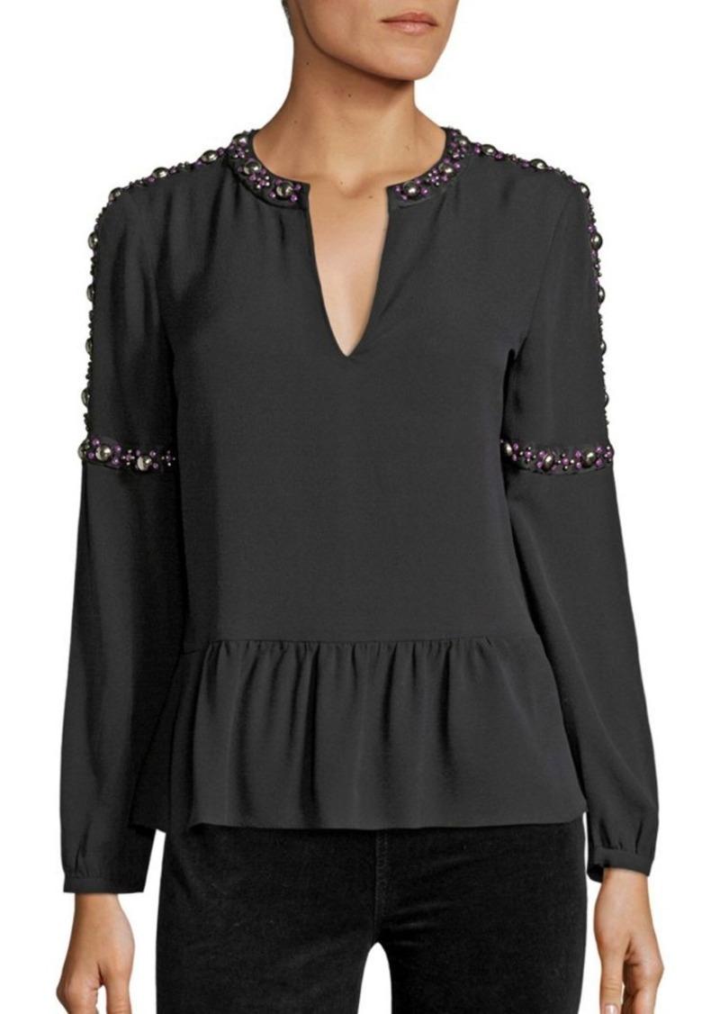 Tory Burch Mezair Embellished Silk Tunic Top