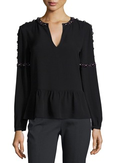 Tory Burch Mezzair Embellished Split-Neck Silk Blouse