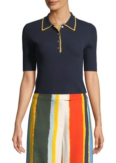 Tory Burch Mila Stitch-Trim Ribbed Polo Shirt