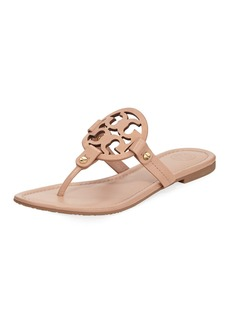 Tory Burch Miller Flat Leather Logo Slide Sandal