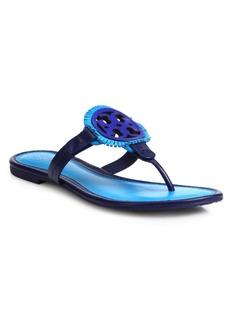 Tory Burch Miller Fringe Leather Logo Thong Sandals
