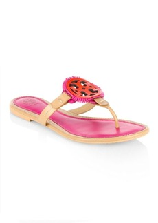 Tory Burch Miller Fringe Leather Thong Sandals