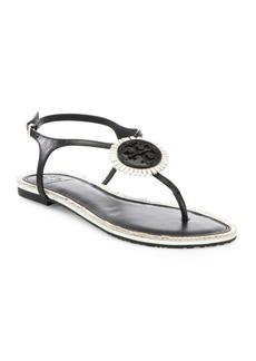 Tory Burch Miller Fringe Logo Leather T-Strap Sandals