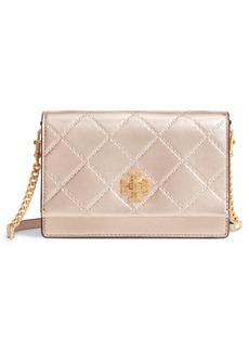 Tory Burch Mini Georgia Quilted Metallic Leather Shoulder Bag