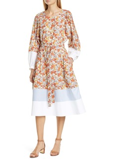 Tory Burch Mix Pattern Long Sleeve Cotton Dress
