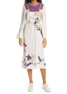 Tory Burch Mushroom Party Trapunto Long Sleeve Midi Dress