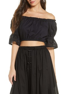 Tory Burch Off the Shoulder Embroidered Peasant Top