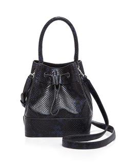Tory Burch Padlock Snake-Embossed Mini Bucket Bag