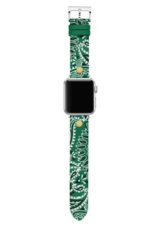 Tory Burch Bandana Print Leather Strap for Apple Watch®, 38mm/40mm