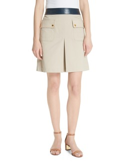 Tory Burch Parker Leather Trim Skirt