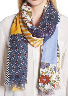 Tory Burch Patchwork Printed Oblong Scarf