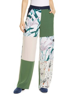 Tory Burch Patchwork Silk Cargo Pants