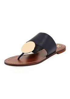 Tory Burch Patos Disk Leather Flat Slide Sandal
