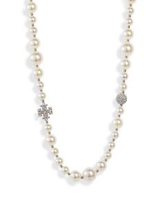 Tory Burch Pavé Crystal Charm & Imitation Pearl Choker Necklace
