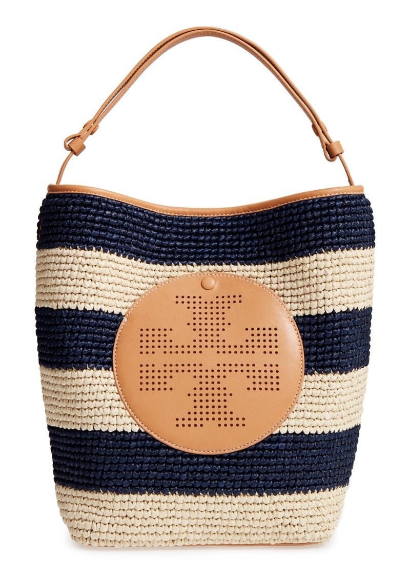 Tory Burch Perforated Logo Straw Hobo