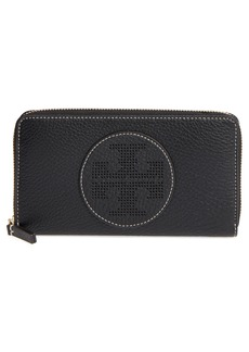 Tory Burch Perforated Logo Zip Continental Wallet