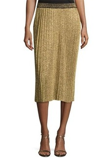Tory Burch Phaedra Pleated Lurex Midi Skirt