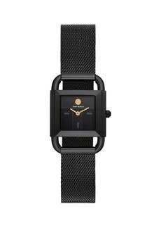 Tory Burch Phipps Black Stainless Steel & Mesh Bracelet Watch